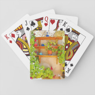 Watercolor flowers playing cards