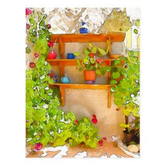 Watercolor flowers postcard