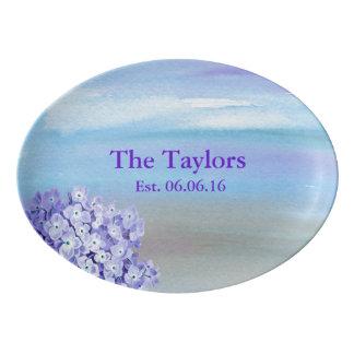 Watercolor Flowers Purple and Blue Porcelain Serving Platter