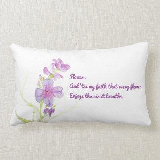 Watercolor Flowers Purple Floral Blooms Botanical Lumbar Pillow