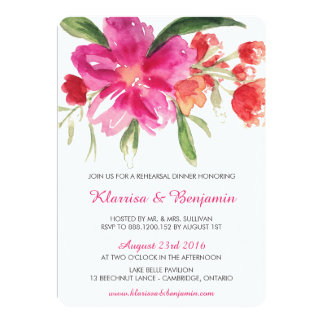 Watercolor Flowers Rehearsal Dinner Invitation