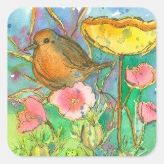 Watercolor Flowers Robin Bird Square Sticker