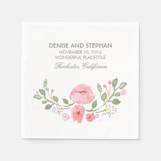 Watercolor Flowers Romantic Wedding Disposable Serviette