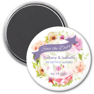 """Watercolor Flowers Save the Date 3"""" Magnet"""