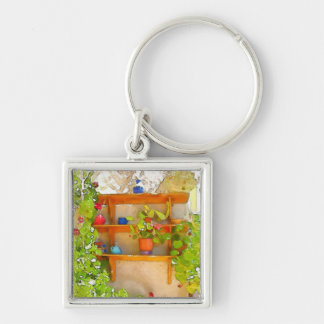 Watercolor flowers Silver-Colored square key ring