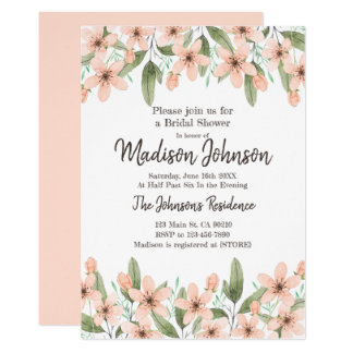 Watercolor Flowers. Spring Bridal Shower Party. Card