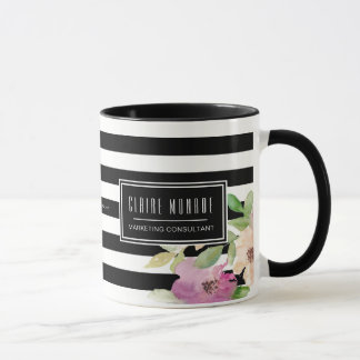 Watercolor Flowers & Stripes Mug