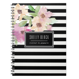 Watercolor Flowers & Stripes Notebooks