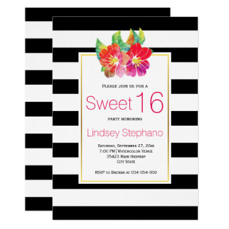 Watercolor flowers, stripes sweet sixteen birthday card