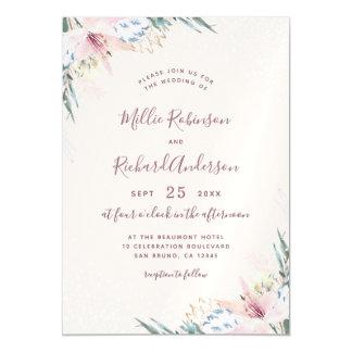 Watercolor Flowers & Typography Wedding Invitation