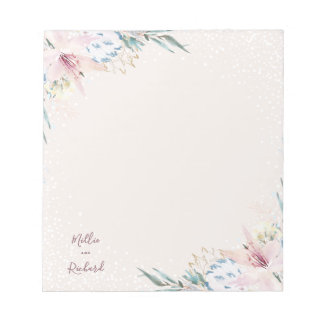 Watercolor Flowers & Typography Wedding Notepad