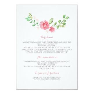Watercolor Flowers Wedding Details - Information 11 Cm X 16 Cm Invitation Card