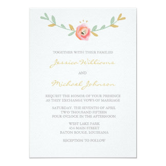 Watercolor Flowers Wedding Invitations