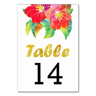 Watercolor flowers wedding table number card