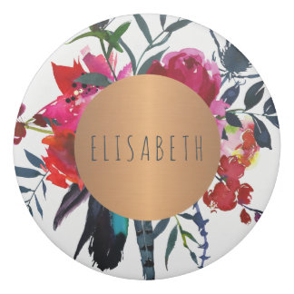 Watercolor flowers with copper circle your name eraser