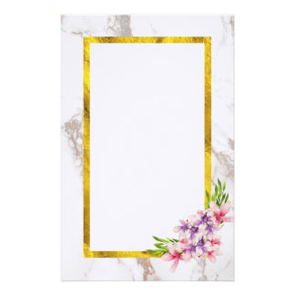 Watercolor Flowers with Faux Gold Foil frame Stationery