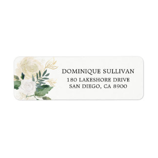 Watercolor Flowers with Faux Gold Glitter and Foil Return Address Label