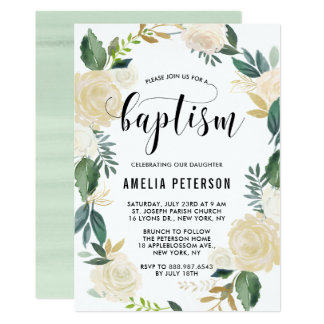 Watercolor Flowers with Gold Glitter Baptism Card