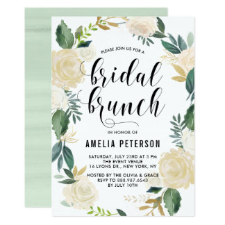Watercolor Flowers with Gold Glitter Bridal Brunch Card