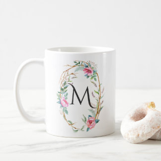 Watercolor Flowers with Twigs Wreath Monogram Mug