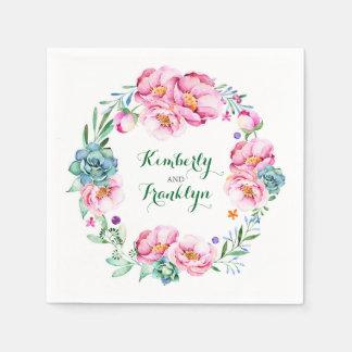 watercolor flowers wreath elegant wedding disposable serviette