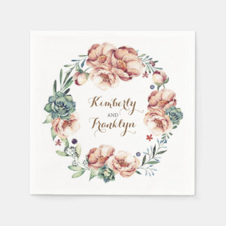 watercolor flowers wreath fall ivory wedding disposable napkins