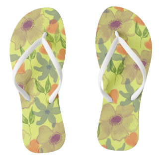 Watercolor Flowers Yellow Thongs