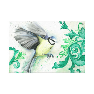 Watercolor flying bird painting, printed canvas