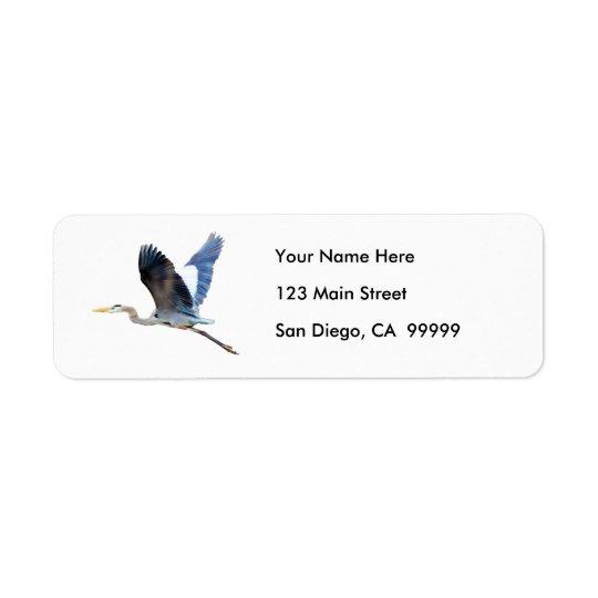 Watercolor Flying Blue Heron Return Address Label
