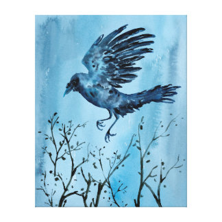 Watercolor Flying Crow Canvas Print