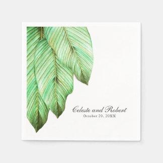 Watercolor Foliage Tropical Wedding Disposable Serviette