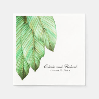 Watercolor Foliage Tropical Wedding Paper Napkin