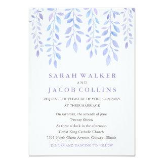 Watercolor Foliage Wedding Invitation Lilac Back