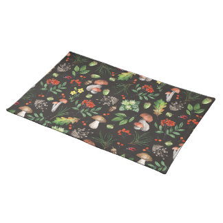 Watercolor Forest Mushrooms Leaves Flowers | Placemat