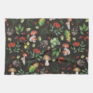 Watercolor Forest Mushrooms Leaves Flowers | Tea Towel