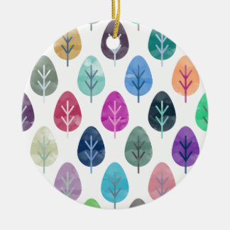 Watercolor Forest Pattern Ceramic Ornament