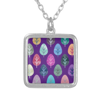 Watercolor Forest Pattern II Silver Plated Necklace