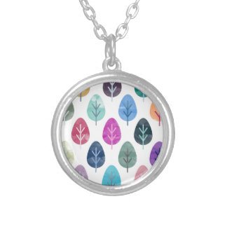 Watercolor Forest Pattern Silver Plated Necklace