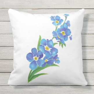 Watercolor Forget-Me-Not Flower art Outdoor Cushion