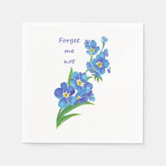 """Watercolor """"Forget me not"""" Pretty Blue Flower art Disposable Serviette"""