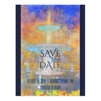 Watercolor Forsyth Fountain at Night Save The Date Postcard