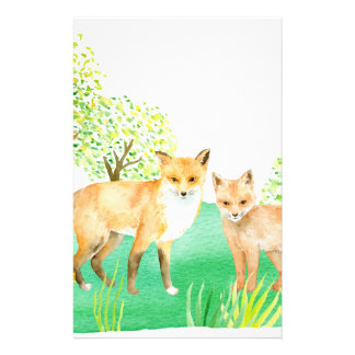 Watercolor fox and kit stationery