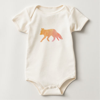 Watercolor Fox Baby Summer Woodland Animal Pink Baby Bodysuit