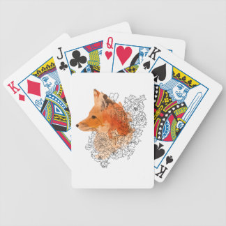 Watercolor Fox in flowers Bicycle Playing Cards