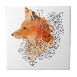 Watercolor Fox in flowers Tile