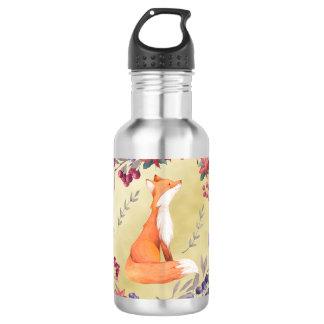 Watercolor Fox Winter Berries Gold 532 Ml Water Bottle
