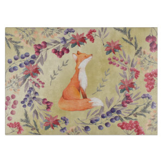 Watercolor Fox Winter Berries Gold Cutting Board