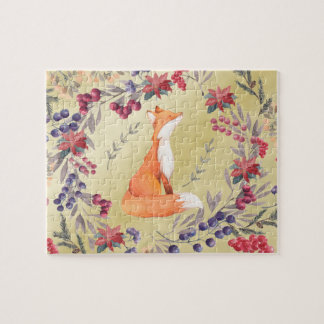Watercolor Fox Winter Berries Gold Jigsaw Puzzle