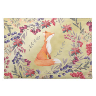 Watercolor Fox Winter Berries Gold Placemat