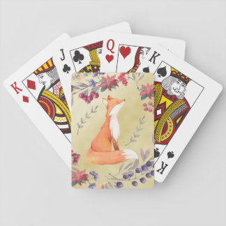 Watercolor Fox Winter Berries Gold Playing Cards